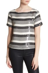 Cupcakes And Cashmere Wexner Striped Sequin Short Sleeve Shirt Beige