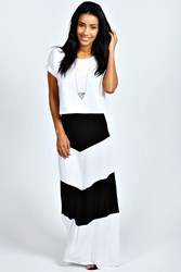 Boohoo Large Striped Jersey Maxi Skirt Black