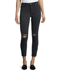 Dl1961 High Rise Skinny Distressed Ankle Jeans Black