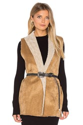 Velvet By Graham And Spencer Royce Vest With Faux Fur Lining Beige