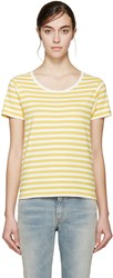 Saint Laurent Yellow And White Striped T Shirt