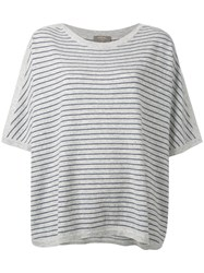 N.Peal Oversized Stripe T Shirt Grey