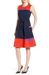 Boss Colorblock Sleeveless Stretch Cotton Dress Nautical Blue Block