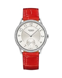 39.5Mm Slim D'hermes Watch With Diamonds And Alligator Strap Red