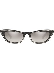 Miu Miu Eyewear Crystal Cat Eye Sunglasses Black