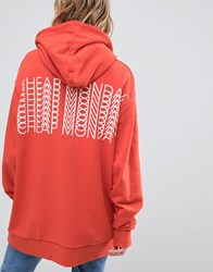 Cheap Monday Oversized Hoody With Repeat Back Logo Pink