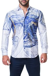 Maceoo Fibonacci Scribble Trim Fit Print Sport Shirt Blue