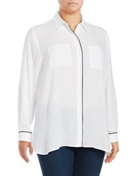 Lord And Taylor Plus Clair Button Down Shirt Cloud