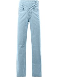 Y Project Double Waistband Loose Fit Jeans Blue