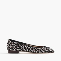 J.Crew Kiki Leopard Calf Hair Ballet Flats Grey Brown