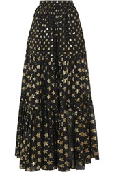 Temperley London Peggy Metallic Fil Coupe Maxi Skirt Black Gold