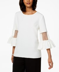 Msk Mesh And Imitation Pearl Bell Sleeve Top Ivory Gold
