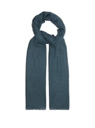 Allude Distressed Knit Cashmere Scarf Navy
