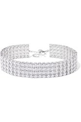 Kenneth Jay Lane Silver And Rhodium Plated Cubic Zirconia Choker