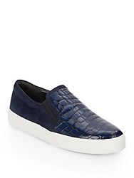 Via Spiga Maliah Embossed Leather And Suede Sneakers Navy