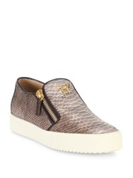 Giuseppe Zanotti Snakeskin Embossed Leather Slip On Sneakers Desert