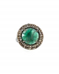 Bavna Round Emerald And Champagne Diamond Cocktail Ring Size 7