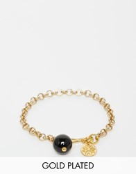 Mirabelle Gold Plated Belcher Chain Bracelet With Onyx Goldonyx
