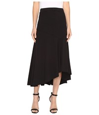 Mod O Doc Classic Jersey Hi Low Asymmetrical Seamed Skirt Black Women's Skirt