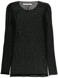 Isabel Benenato Long Sheer Top Black