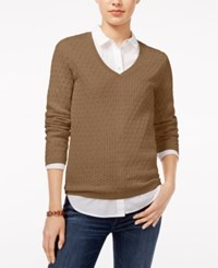 Tommy Hilfiger Ivy Cable Knit Sweater Tobacco Heather