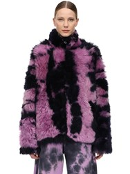 Marques Almeida Printed Fur Zip Up Jacket Purple