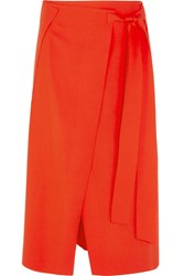 Cedric Charlier Wool Blend Wrap Midi Skirt Tomato Red