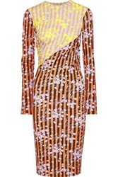 House Of Holland Woman Paneled Ruched Printed Jersey Dress Orange