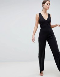 Ax Paris V Neck Jumpsuit Black