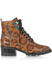 Sophia Webster Roxy Leopard Print Textured Leather Ankle Boots
