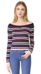 J.O.A. Stripe Sweater Navy White Red