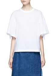 Toga Archives Knotted Fringe Sleeve Cotton T Shirt White