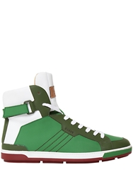 Bally Rubberized Leather High Top Sneakers Green