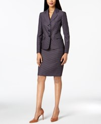 Le Suit Three Button Tweed Skirt Regular And Petite Navy Ivory