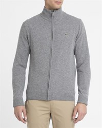 Lacoste Mottled Grey New Wool Zipped Cardigan