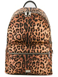 Dolce And Gabbana Volcano Leopard Print Backpack Brown