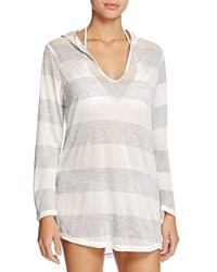 Splendid Homespun Stripe Hooded Tunic Swim Cover Up Grey