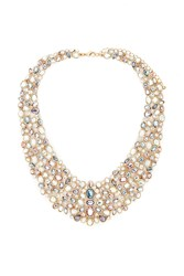 Forever 21 Faux Gem Statement Necklace Gold Multi