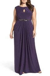 Adrianna Papell Plus Size Women's Embellished Jersey Gown