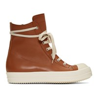 Rick Owens Brown And White Leather High Top Sneakers