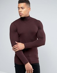 New Look Muscle Fit Roll Neck Top In Dark Purple Dark Burgundy