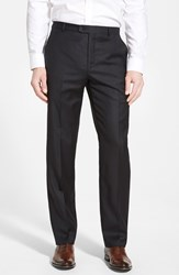 Men's Big And Tall Hickey Freeman 'B Series' Flat Front Wool Trousers Black