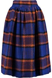 Stella Jean Pleated Checked Woven Midi Skirt Blue