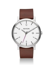 Nixon Rollo Leather Strap Watch White Multi