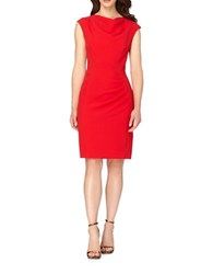 Tahari By Arthur S. Levine Crepe Ruched Cap Sleeve Sheath Dress Tomato Red