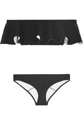 Lisa Marie Fernandez Mira Flounce Off The Shoulder Bonded Bikini Black