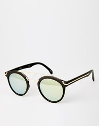 Asos Round Sunglasses With Metal Bridge High Bar And Flat And Flash Lens Black