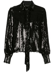 Sally Lapointe Sequined Tied Neck Blouse Black