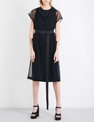 Jil Sander Dalmazia Sheer Stretch Satin Tulle Coat Black