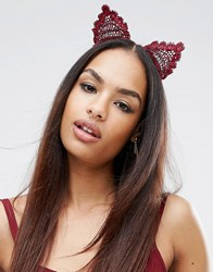 Asos Lace Cat Ears Headband Burgundy Red